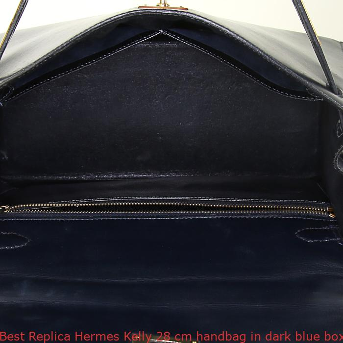 75b287b3fc54 Best Replica Hermes Kelly 28 cm handbag in dark blue box leather ...