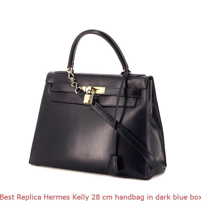 b5e71c4111ea Best Replica Hermes Kelly 28 cm handbag in dark blue box leather ...