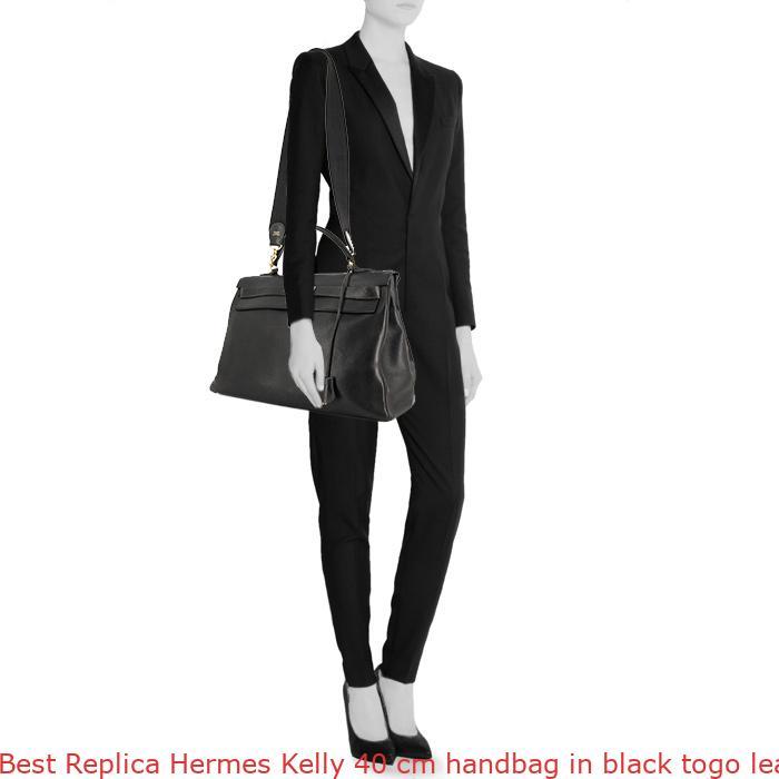 4cfd22d95624 Best Replica Hermes Kelly 40 cm handbag in black togo leather ...