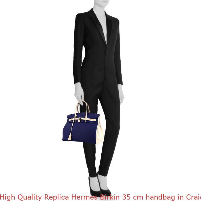 704c5818ba9a High Quality Replica Hermes Birkin 35 cm handbag in Craie and blue leather  taurillon clémence