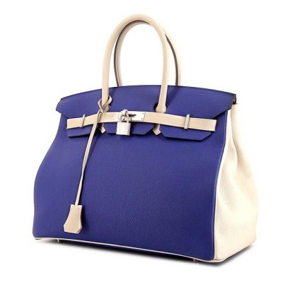 3b3c65453cf1 High Quality Replica Hermes Birkin 35 cm handbag in Craie and blue leather  taurillon clémence