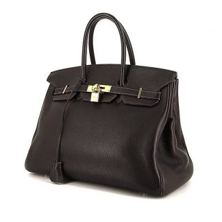 020c1667c3e6 ... dark blue box leather High Quality Replica Hermes Birkin 35 cm handbag  in brown Cacao togo leather