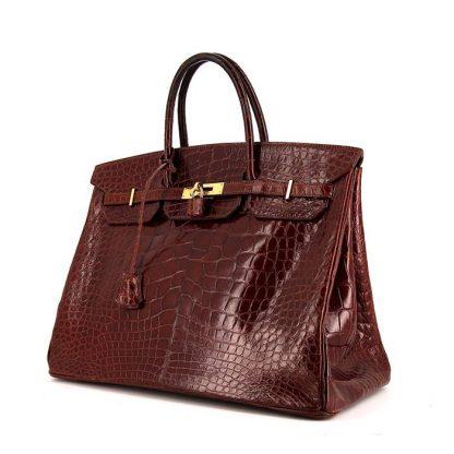 High Quality Replica Hermes Birkin 40 cm handbag in brown alligator ... a35885d157947