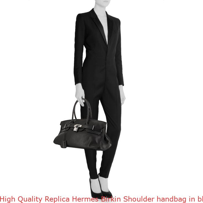 50029c783d High Quality Replica Hermes Birkin Shoulder handbag in black leather  taurillon clémence and black box leather