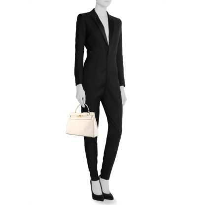 8a0f3c5bfbf6 High Quality Replica Hermes Kelly 32 cm handbag in white leather ...