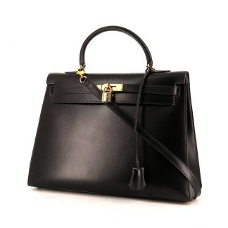 199250d65daf ... High Quality Replica Hermes Kelly 35 cm handbag in black box leather ...