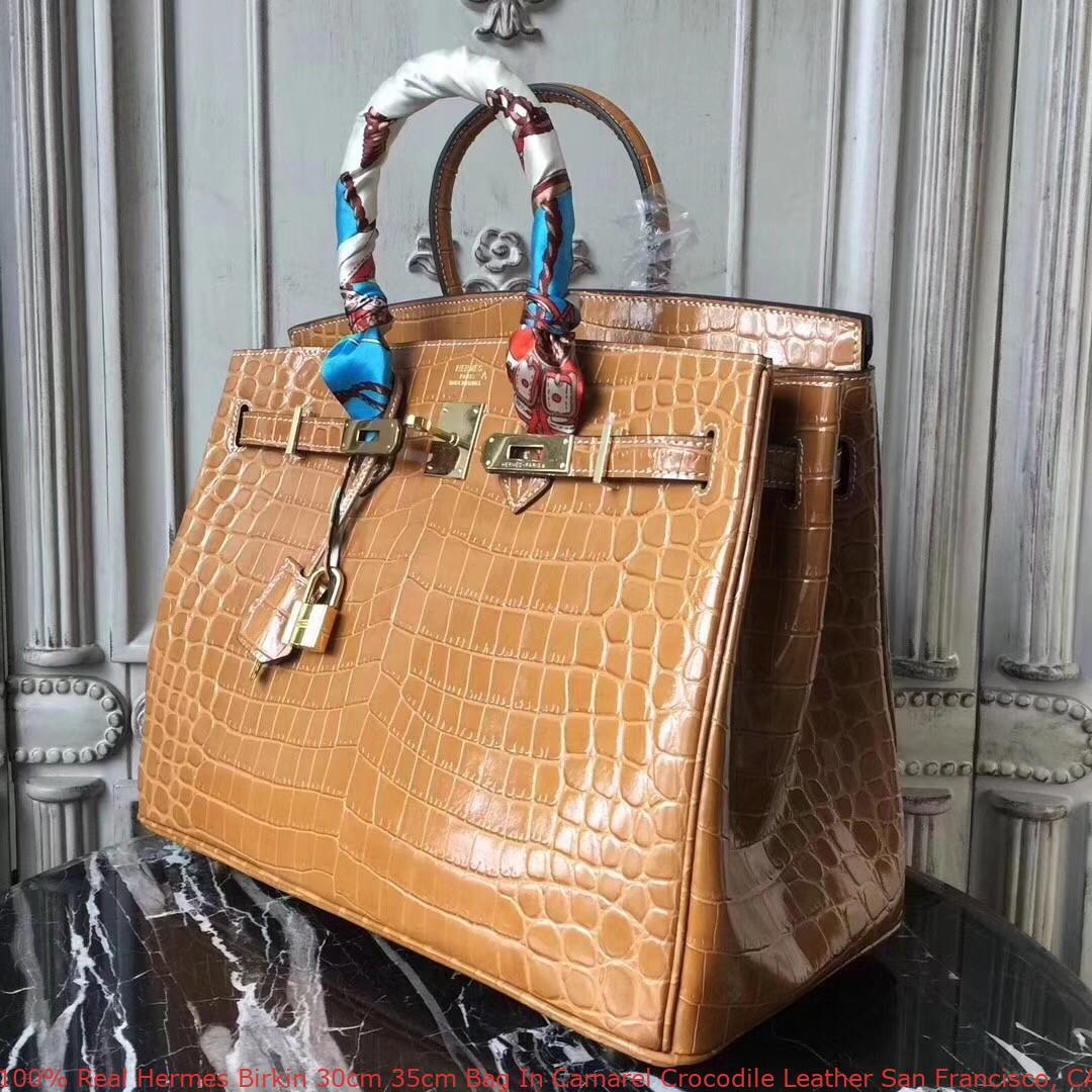 13897d3343 100% Real Hermes Birkin 30cm 35cm Bag In Camarel Crocodile Leather ...