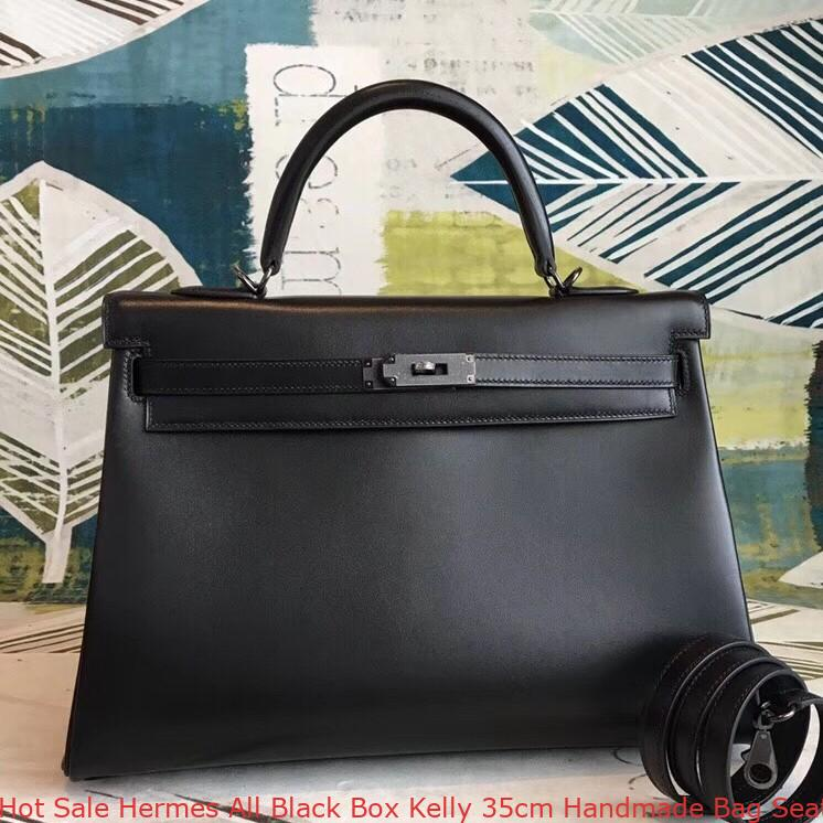 b40e4c2321 Hot Sale Hermes All Black Box Kelly 35cm Handmade Bag Seattle