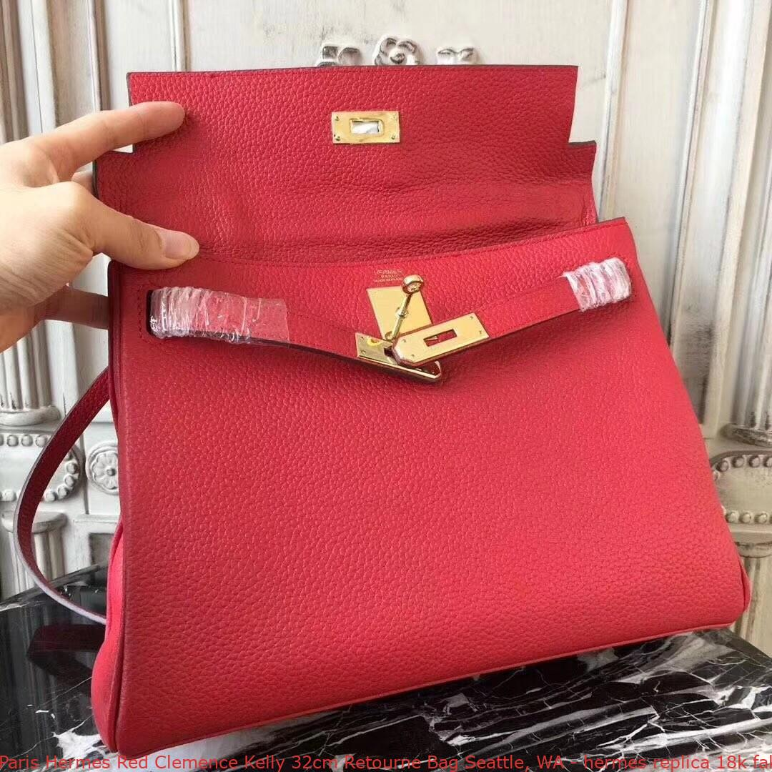 31e356c3f8 Paris Hermes Red Clemence Kelly 32cm Retourne Bag Seattle